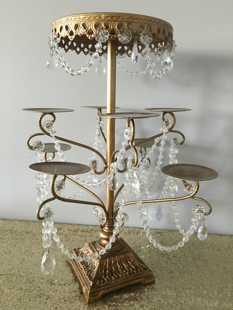 Collection boho blush gold and crystal chandelier cupcake stand arubaitofo Image collections